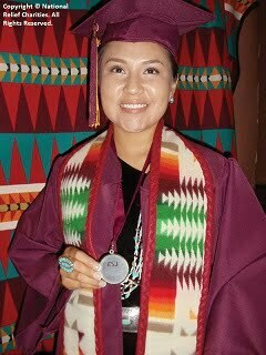 AIEF scholarship recipient graduating from college (Navajo)